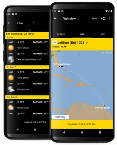 Android mobile flight tracker app